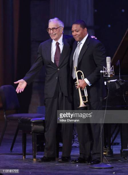 """Dave Brubeck and Wynton Marsalis perform onstage at Jazz At Lincoln Center Presents """"A Celebration Of America"""" Gala funded by The Rockefeller..."""