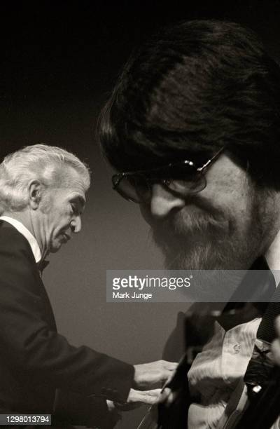 Dave Brubeck plays the piano while his son, Chris, plays the electric bass during the Brubeck Jazz Quartet concert at the Cheyenne Civic Center on...