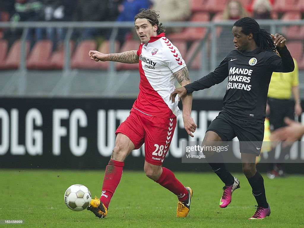 Dave Bulthuis of FC Utrecht, Florian Jozefzoon of RKC Waalwijk during the Dutch Eredivisie match between FC Utrecht and RKC Waalwijk at the Galgenwaard on march 10, 2013 in Utrecht, The Netherlands