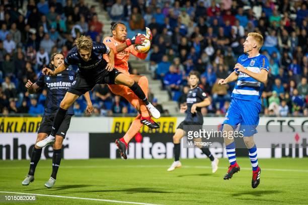 Dave Bulthuis of sc Heerenveen Daniel Hoegh of sc Heerenveen goalkeeper Warner Hahn sc Heerenveen Mike van Duinen of PEC Zwolle during the Dutch...