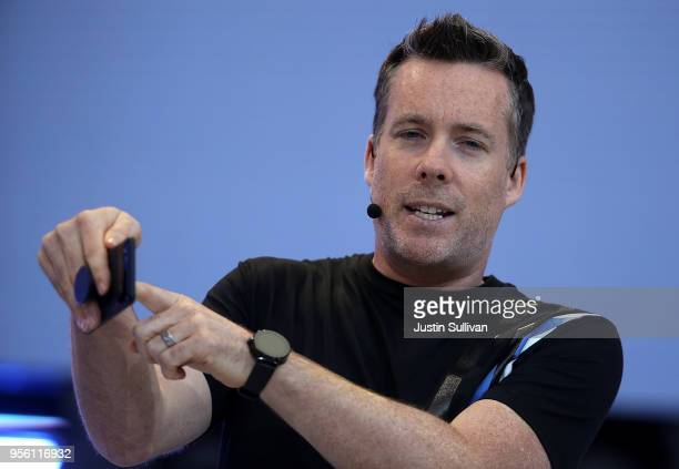 Dave Burke Google Vice President of Engineering for Android speaks during the opening keynote address at the Google I/O 2018 Conference at Shoreline...