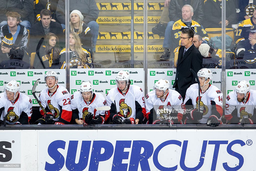 Dave Cameron coach of the Ottawa Senators during overtime of an NHL hockey game against the Boston Bruins on December 13, 2014 at TD Garden in Boston, Massachusetts. The Senators won 3-2 in a shootout.