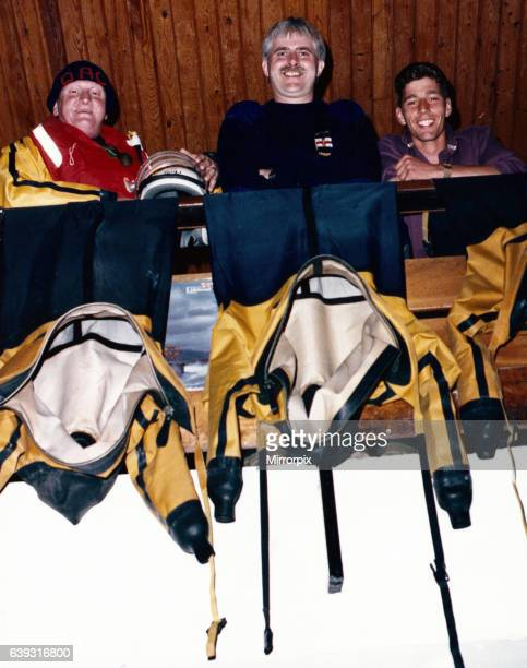 L R Dave Cammish Derek Robinson and Mike Smithson who recently took part in a sponsored parachute jump to raise funds 11th September 1989