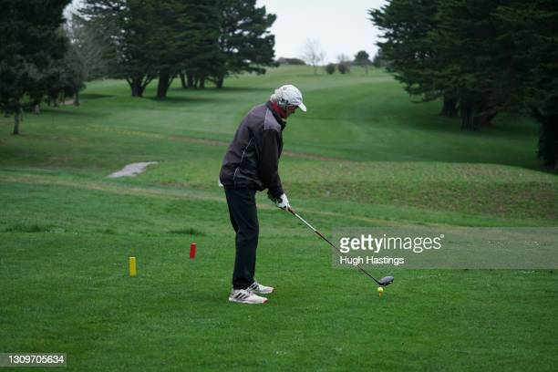 Dave Carter among the first party of golfers who returned to playing at Falmouth Golf Club on March 29, 2021 in Falmouth, England. Today the...