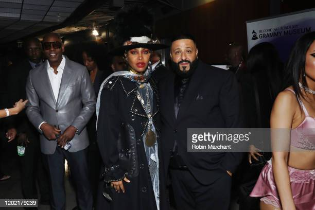 Dave Chapelle, Erykah Badu and DJ Khaled are seen at the GRAMMY Charities Signings during the 62nd Annual GRAMMY Awards at STAPLES Center on January...