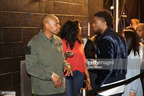 Dave Chappelle and Chadwick Boseman are seen during the NBA AllStar Game as a part of 2018 NBA AllStar Weekend at STAPLES Center on February 18 2018...