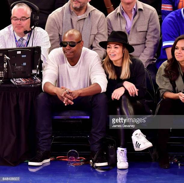 Dave Chappelle and Elaine Chappelle attend Golden State Warriors Vs New York Knicks game at Madison Square Garden on March 5 2017 in New York City