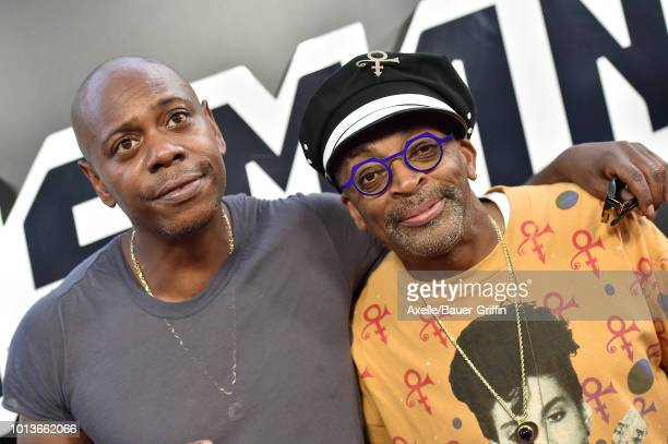 Dave Chappelle and Spike Lee arrive at the premiere of Focus Features' 'BlacKkKlansman' at Samuel Goldwyn Theater on August 8 2018 in Beverly Hills...