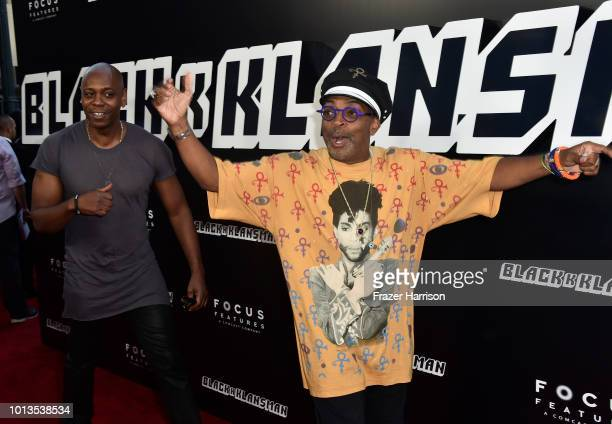 Dave Chappelle and Spike Lee attend the Premiere Of Focus Features' BlacKkKlansman at Samuel Goldwyn Theater on August 8 2018 in Beverly Hills...