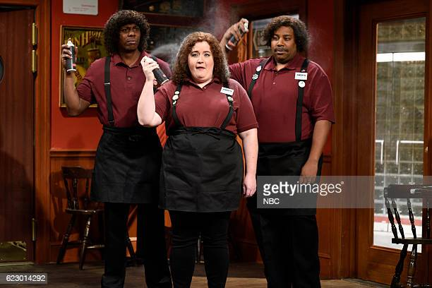 LIVE 'Dave Chappelle' Episode 1710 Pictured Dave Chappelle Aidy Bryant and Kenan Thompson during the 'Jheri's Place' sketch on November 12 2016