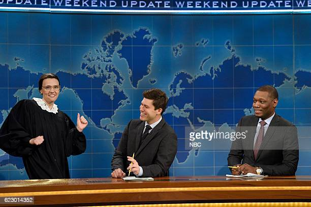 LIVE Dave Chappelle Episode 1710 Pictured Kate McKinnon as Supreme Court Justice Ruth Bader Ginsburg and Colin Jost during Weekend Update on November...