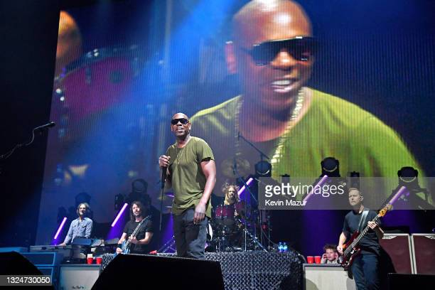 """Dave Chappelle performs """"Creep"""" onstage with The Foo Fighters as they reopen Madison Square Garden on June 20, 2021 in New York City. The concert,..."""