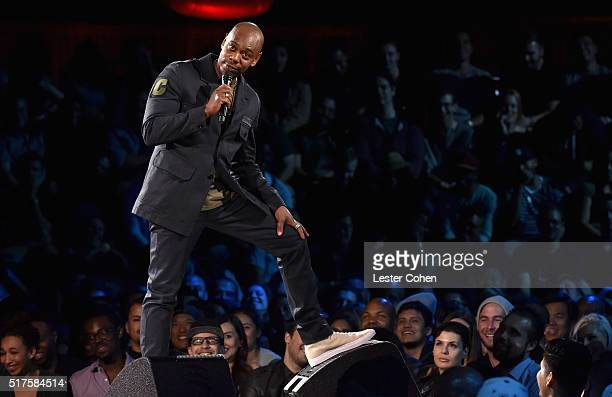 Dave Chappelle performs to a sold out crowd onstage at the Hollywood Palladium on March 25 2016 in Los Angeles California