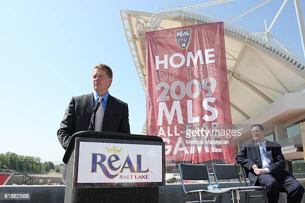 Dave Checketts owner of the Real Salt Lake speaks as Mark Abbott President of MLS listens during a press conference announcing Real Salt Lake stadium...