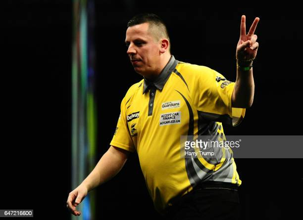 Dave Chisnall celebrates during Night Five of the Betway Premier League Darts at Westpoint Arena on March 2 2017 in Exeter England