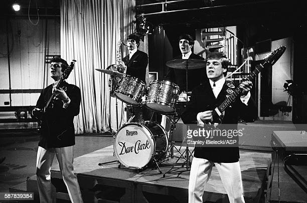 Dave Clark 5 perform on TV show Ready Steady Go Kingsway Studios London February 1964 LR Rick Huxley Denis Payton Dave Clark Lenny Davidson