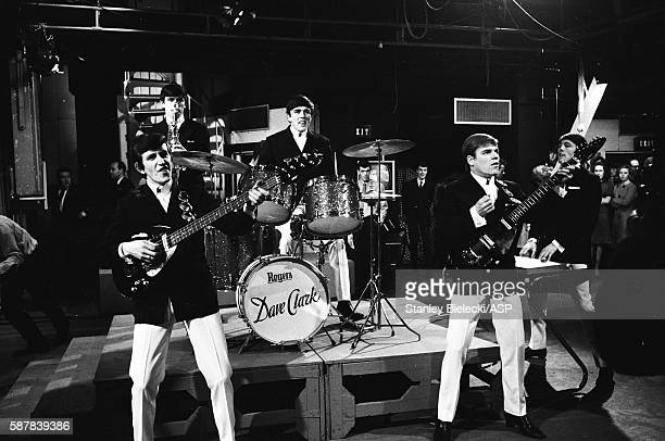 Dave Clark 5 perform on TV show Ready Steady Go Kingsway Studios London February 1964 LR Rick Huxley Denis Payton Dave Clark Lenny Davidson Mike Smith