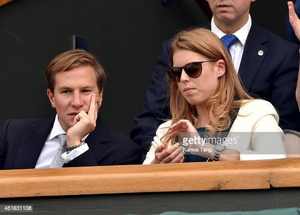 Dave Clark and Princess Beatrice of York attend the Andy Murray v Grigor Dimitrov match on centre court during day nine of the Wimbledon...