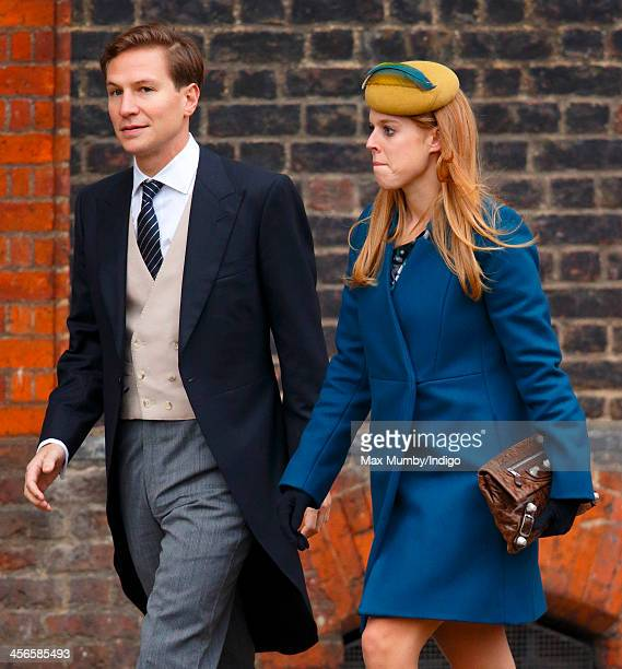 Dave Clark and Princess Beatrice of York attend the wedding of Jake Warren and Zoe Stewart in the Wren Chapel at the Royal Hospital Chelsea on...
