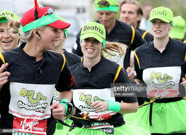 Dave Clark Holly Branson Princess Beatrice and Tuuli Shipster prepare to take part in the Virgin London Marathon on April 25 2010 in London England...