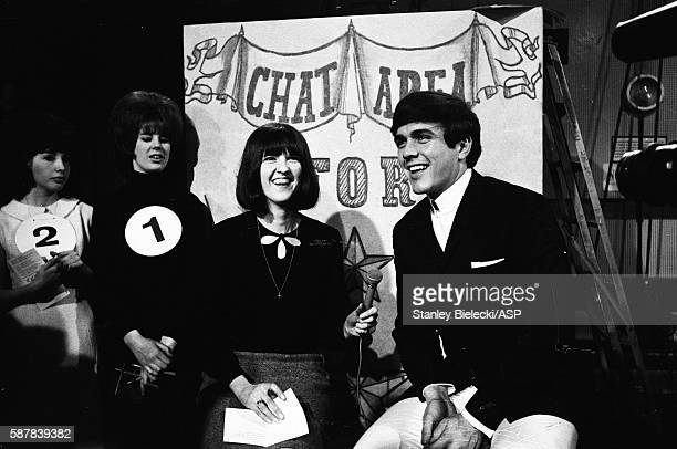 Dave Clark is interveiwed by presenter Cathy McGowan on the set of TV show Ready Steady Go Kingsway Studios London February 1964