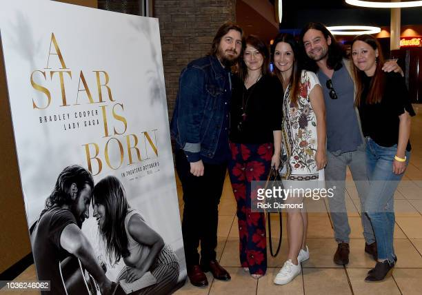 Dave Cobb Lydia Cobb Laura Hemby Aaron Raitiere and Hillary Lindsey attend 'A Star Is Born' screening with Bradley Cooper and Lukas Nelson at AMC...