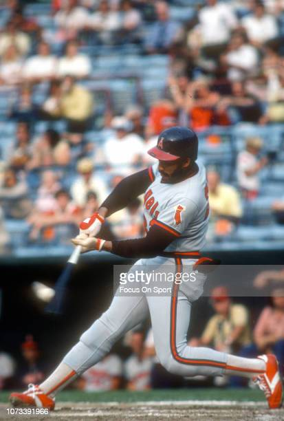 Dave Collins of the California Angels bats against the Baltimore Orioles during an Major League Baseball game circa 1976 at Memorial Stadium in...