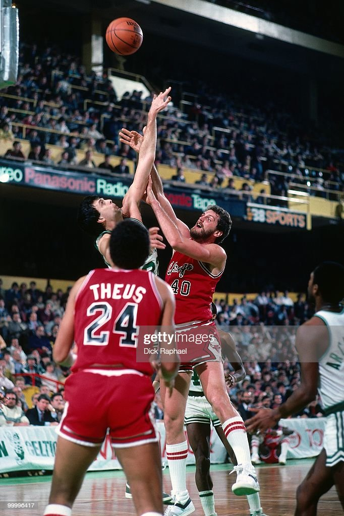 Dave Corzine #40 of the Chicago Bulls shoots against the Boston Celtics during a game played in 1983 at the Boston Garden in Boston, Massachusetts.