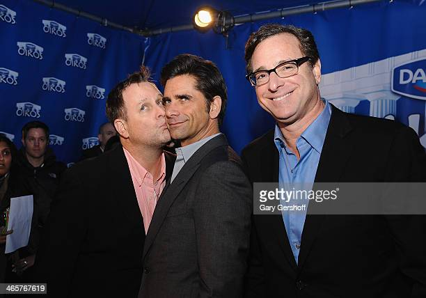 Dave Coulier John Stamos and Bob Saget visit the Dannon Oikos Tent on January 29 2014 in New York City