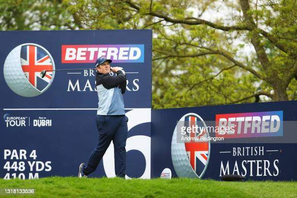 Dave Coupland of England tees off on the sixth hole during the Final Round of The Betfred British Masters hosted by Danny Willett at The Belfry on...