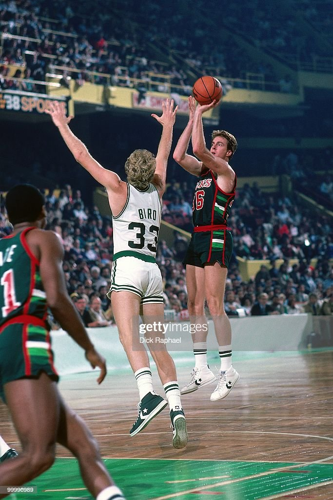 Dave Cowens #36 of the Milwaukee Bucks shoots a jump shot against Larry Bird #33 of the Boston Celtics during a game played in 1983 at the Boston Garden in Boston, Massachusetts.
