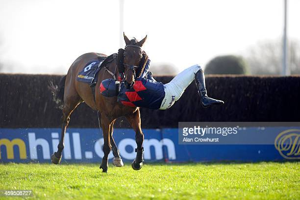 Dave Crosse riding Lindsay's Dream fall at the last fence in The williamhill.com Npvices' Steeple Chase at Kempton Park racecourse on December 27,...