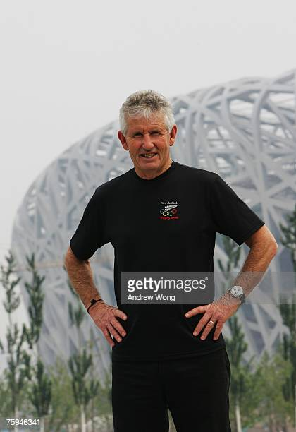 Dave Currie the Chef de Mission of New Zealand Olympic Committee poses during a visit to the construction site of the National Olympic Stadium on...
