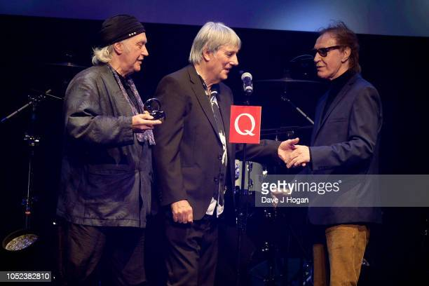 Dave Davies Mick Avory and Ray Davies of The Kinks winners of Q Classic Album at the Q Awards 2018 held at The Roundhouse on October 17 2018 in...