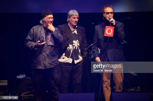 Dave Davies Mick Avory and Ray Davies of The Kinks winners of the Q Classic Album award pose at the Q Awards 2018 at The Roundhouse on October 17...