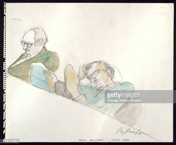 Dave Dellinger seated and Rennie Davis sleeping in a courtroom illustration during the trial of the Chicago Eight Chicago Illinois late 1969 or early...