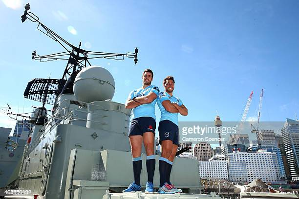 Dave Dennis and Nick Phipps of the Waratahs pose onboard HMAS Vampire during a Waratahs Super Rugby media opportunity at the Australian Maritime...