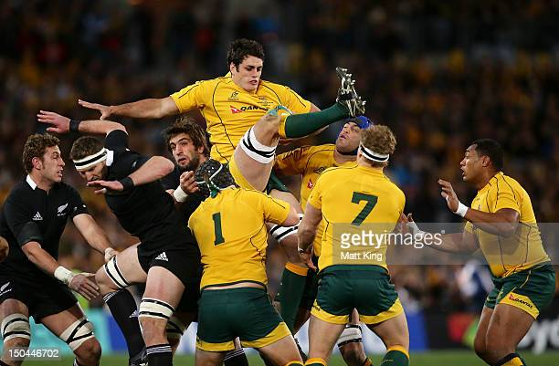 Dave Dennis of the Wallabies jumps at the lineout during The Rugby Championship Bledisloe Cup match between Australia and New Zealand at ANZ Stadium...