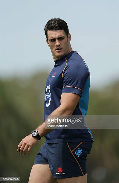 Dave Dennis performs a training drill during a Waratahs Super Rugby preseason training session at Moore Park on November 20 2014 in Sydney Australia