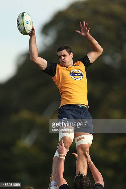 Dave Dennis takes a lineout catch during a Waratahs Super Rugby training session at Moore Park on April 29 2014 in Sydney Australia