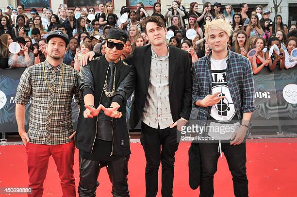 Dave 'Dggy' Ferris Martin 'Bucky' Seja Patrick 'Pat' Gillett and Cameron 'Camm' Hunter of Down With Webster arrive at the 2014 MuchMusic Video Awards...