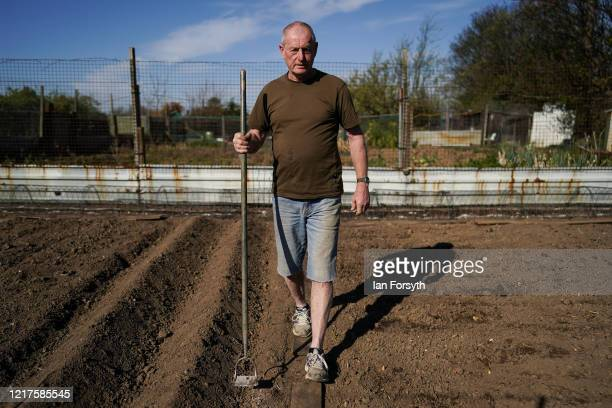 Dave Dixon tends to his allotment as he follows government guidelines on social distancing and time restrictions on April 08, 2020 in Saltburn By The...