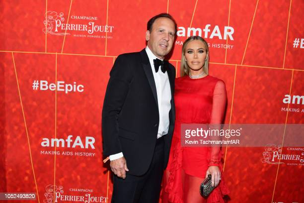 Dave Dollinger and Tara Dollinger attend amfAR Los Angeles 2018 at Wallis Annenberg Center for the Performing Arts on October 18 2018 in Beverly...