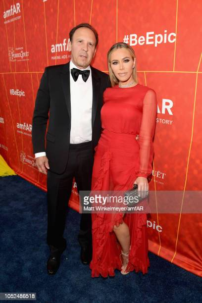 Dave Dollinger and Tara Dollinger attend the amfAR Gala Los Angeles 2018 at Wallis Annenberg Center for the Performing Arts on October 18 2018 in...