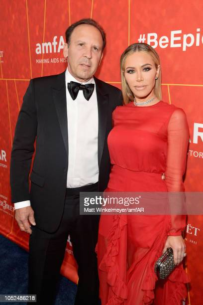 Dave Dollinger and Tara Juergens attend the amfAR Gala Los Angeles 2018 at Wallis Annenberg Center for the Performing Arts on October 18 2018 in...