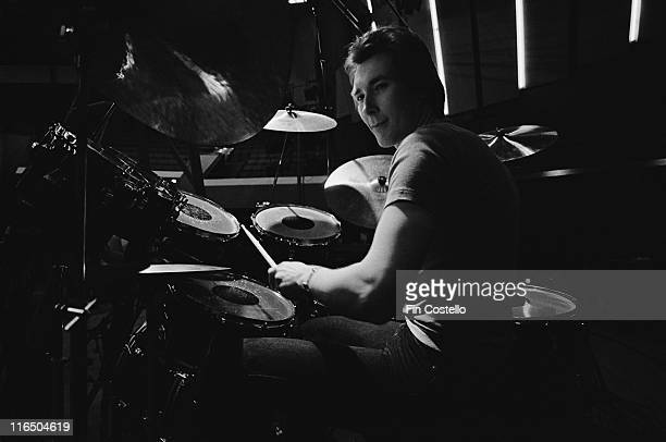 Dave Dowle British drummer with Whitesnake sitting behind his drumkit during a sound check ahead of a live concert performance by the band at the...