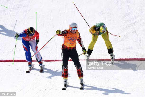 Dave Duncan of Canada celebrates after winning heat 7 in the Freestyle Skiing Men's Ski Cross 1/8 finals on day 12 of the PyeongChang 2018 Winter...