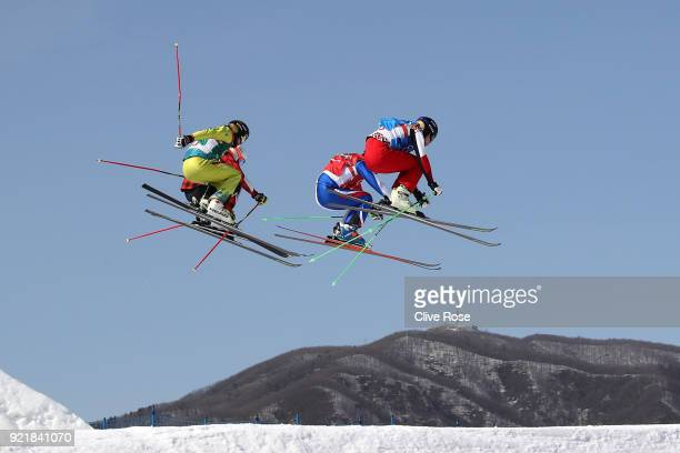 Dave Duncan of Canada Jean Frederic Chapuis of France Paul Eckert of Germany and Egor Korotkov of Olympic athletes of Russia compete in the Freestyle...