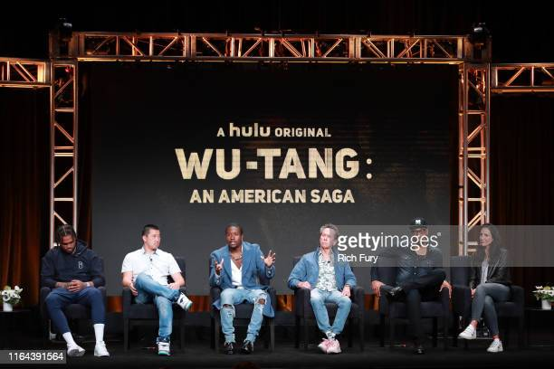 Dave East Alex Tsa Shameik Moore Brian Grazer RZA and Francie Calfo of 'WuTang An American Saga' speaks onstage during the Hulu segment of the Summer...
