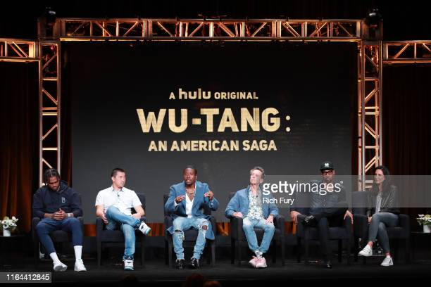 Dave East Alex Tsa Shameik Moore Brian Grazer RZA and Francie Calfo of 'WuTang An American Saga333' speaks onstage during the Hulu segment of the...